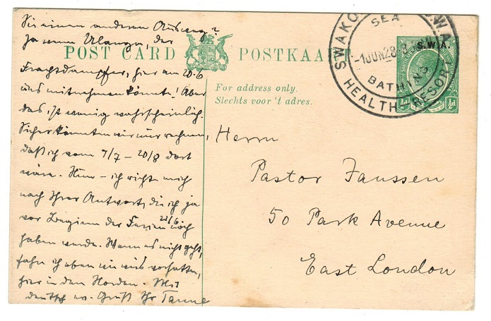 SOUTH WEST AFRICA - 1928 1/2d green PSC used at SWAKOPMUND HEALTH RESORT.  H&G 10.