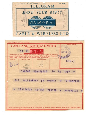 SINGAPORE - 1953 use of CABLE AND WIRELESS telegram with original envelope.