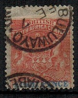 RHODESIA - 1892 8d used at BULAWAYO with major perforation shift.  SG 24.