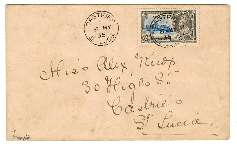 ST.LUCIA - 1935 2d rate local FDC cover bearing
