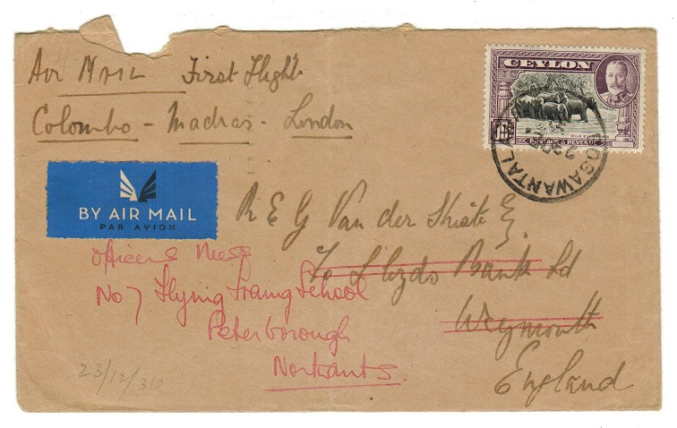 CEYLON - 1936 first flight cover to UK used at BOGAWANTALAWA.