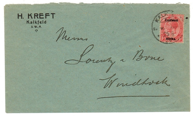 SOUTH WEST AFRICA - 1924 1d rate local cover used at KALKFELD.