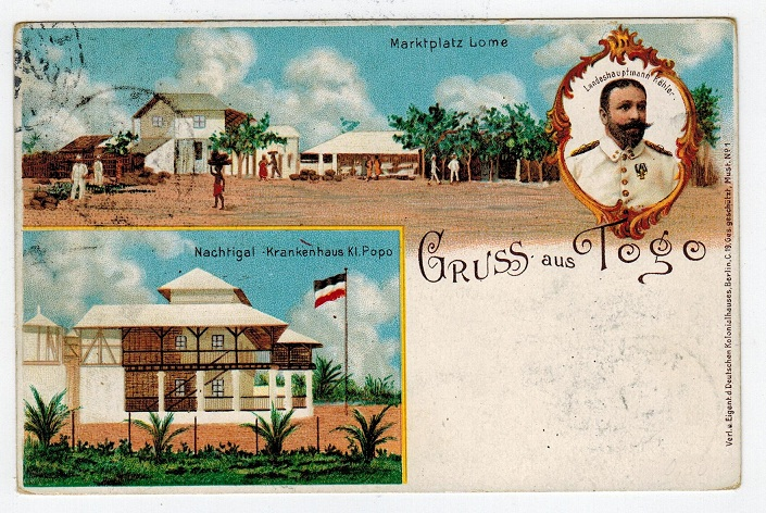 TOGO (German) - 1898 10pgf red PRIVATELY PRINTED  illustrated PSC used at LOME.  H&G 2.