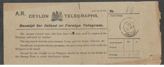 CEYLON - 1913 Ceylon telegraphs receipt form used at JAFFNA.