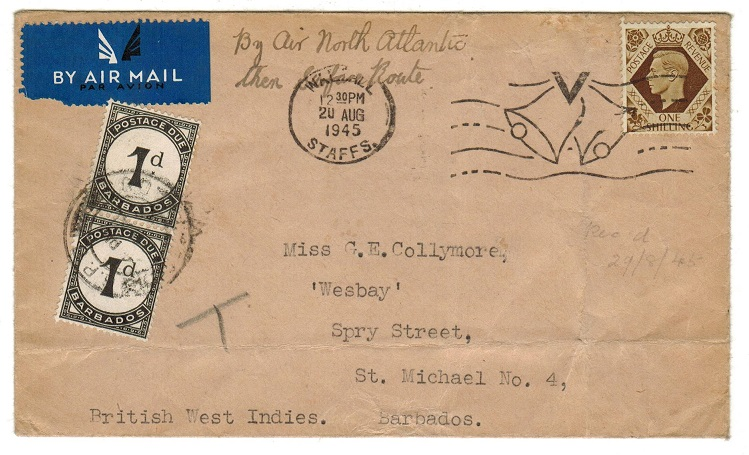 BARBADOS - 1945 inward underpaid cover with 1d POSTAGE DUE pair added.