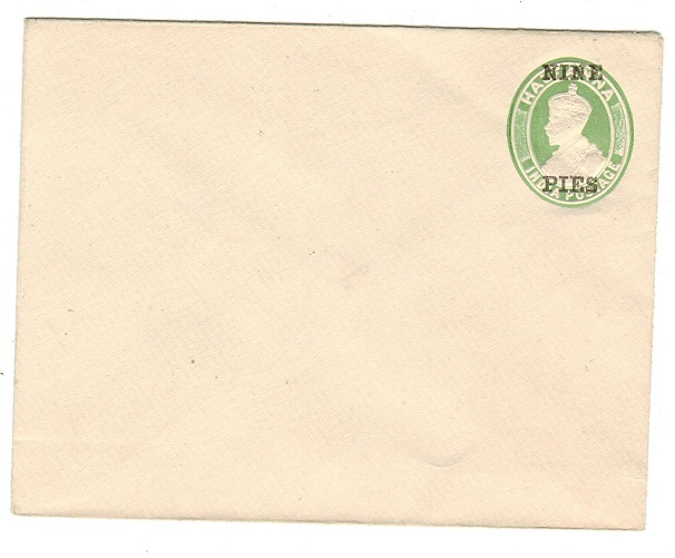 INDIA - 1921 9p on 1/2a yellow-green PSE unused.  H&G 10.