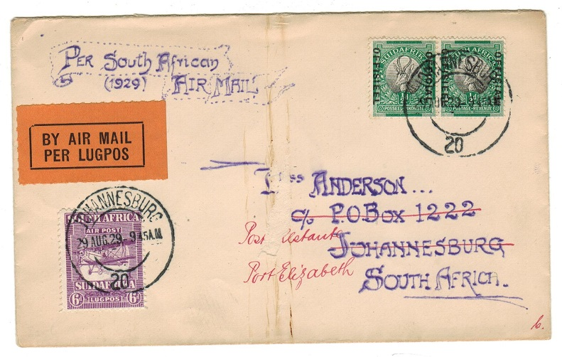 SOUTH AFRICA - 1929 first flight cover re-directed to port Elizabeth.