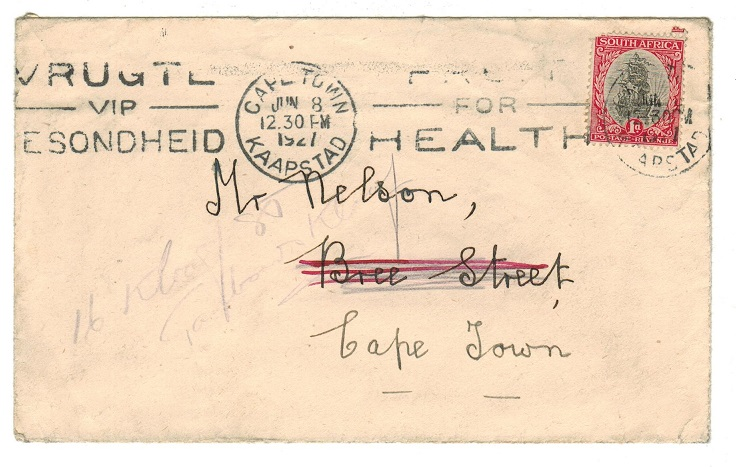 SOUTH AFRICA - 1927 FRUIT FOR HEALTH slogan strike on 1d local cover with