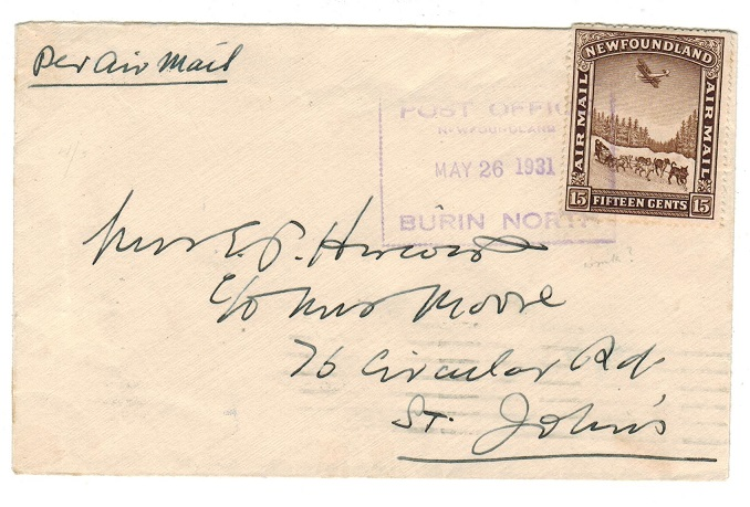 NEWFOUNDLAND - 1931 15c rate local cover with boxed BURIN NORTH cancel.