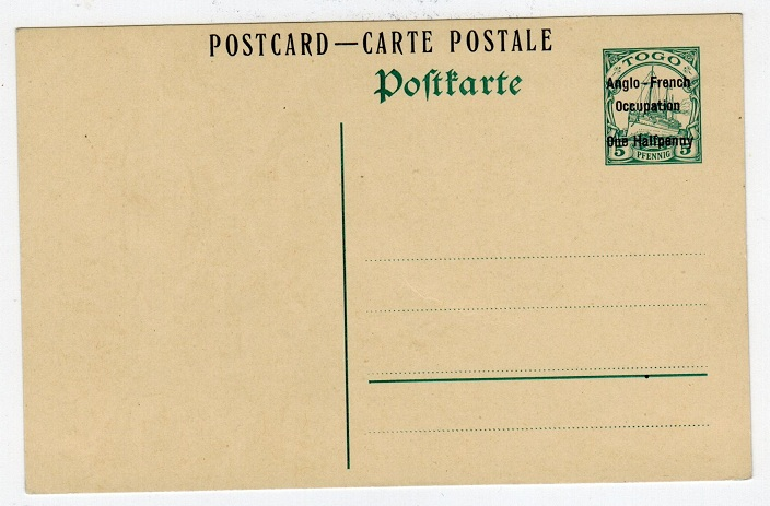 TOGO - 1915 1/2d on 5pfg green PSC unused.  H&G 5.