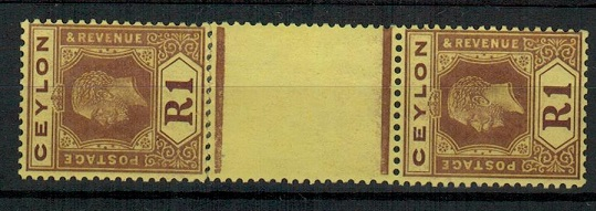 CEYLON - 1921 1r purple and pale yellow mint DIE 1/DIE 2 gutter pair.  SG 345b.