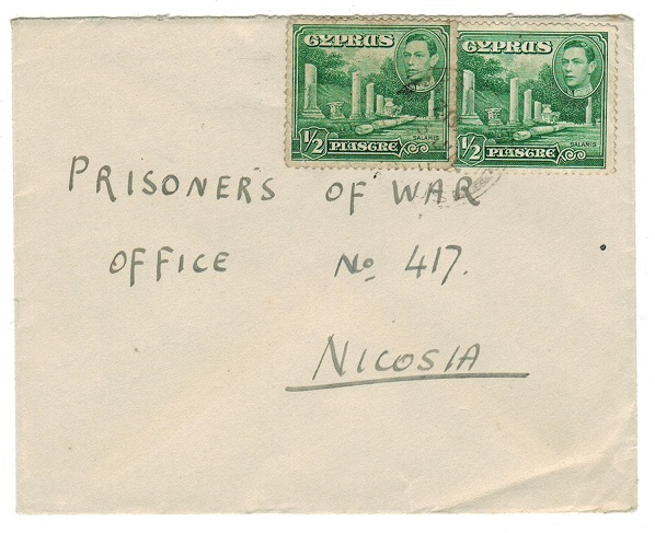 CYPRUS - 1943 local cover to Prisoner Of War office at Nicosia.