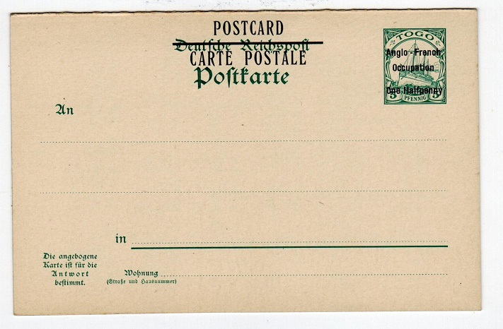 TOGO - 1915 1/2d surcharge on 5pfg+5pfg reply type postcard in unused condition.  H&G 7.
