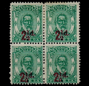 TONGA - 1893 2 1/2d red surcharge on 2d green mint block of four.  SG 20.