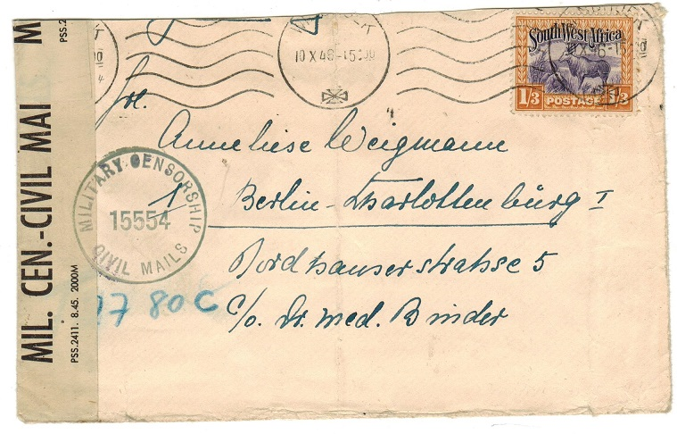 SOUTH WEST AFRICA - 1946 cover to Austria with MIL.CEN/CIVIL MAIL censor strip.