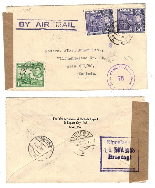 MALTA - 1948 cover to Austria with post war censorship.