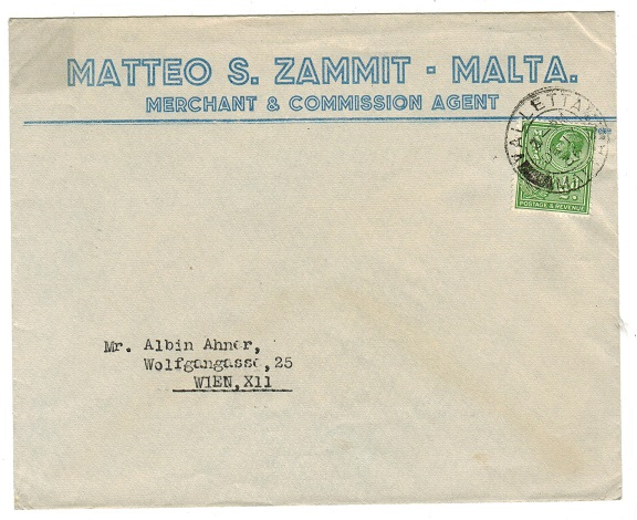 MALTA - 1936 1/2d printed letter rate commercial cover to Austria.