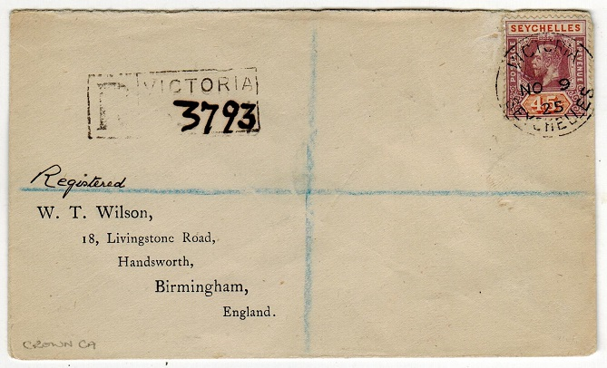 SEYCHELLES - 1925 45c rate registered cover to UK.