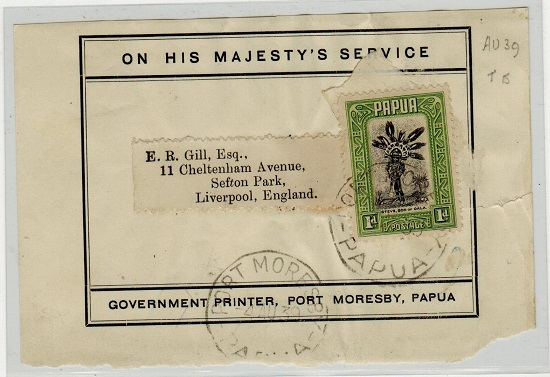 PAPUA - 1939 use of OHMS outer wrapper front to UK.