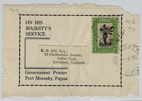 PAPUA - 1936 use of OHMS outer wrapper front to UK.
