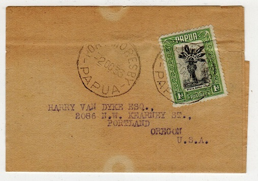 PAPUA - 1933 1d rate wrapper addressed to USA used at PORT MORESBY.