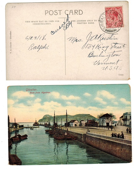 GIBRALTAR - 1918 use of postcard to USA with manuscript censor marking.