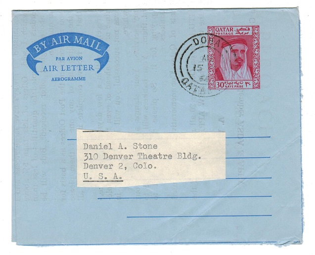 BR.PO.IN E.A. (Qatar) - 1966 30np red air letter to USA used at DOHA.  H&G 5.