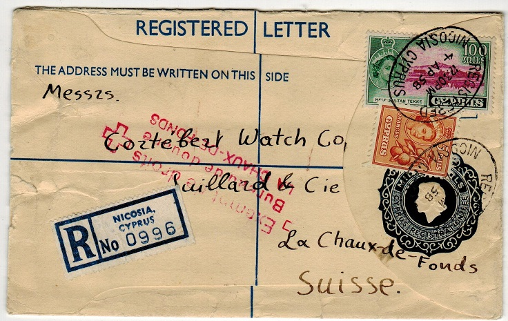 CYPRUS - 1954 25m dark blue RPSE to Switzerland used at NICOSIA. H&G 16a.