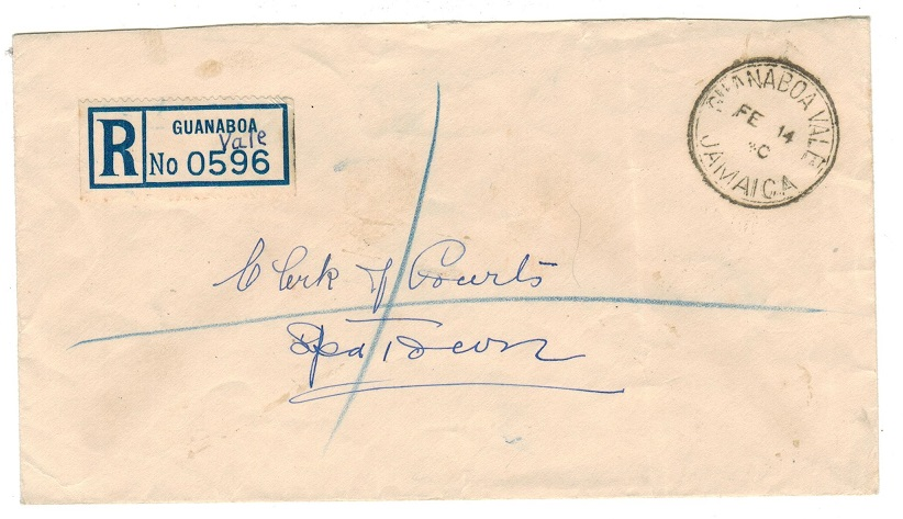 JAMAICA - 1940 stampless registered local cover used at GUANBOA VALE.