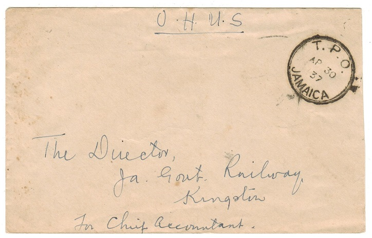JAMAICA - 1937 stampless OHMS local cover used on T.P.O.