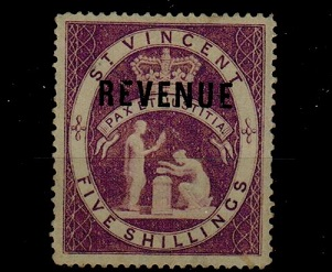 ST.VINCENT - 1882 5/- REVENUE issue mint.
