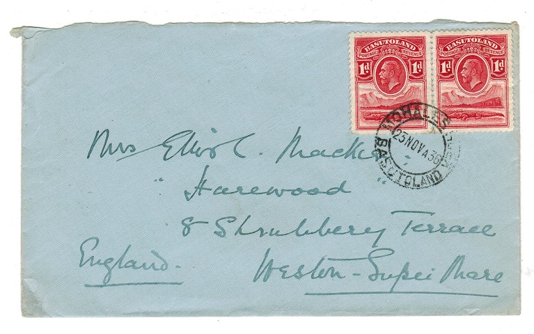 BASUTOLAND - 1936 (circa) 2d rate cover to UK used at QACHASNEK.