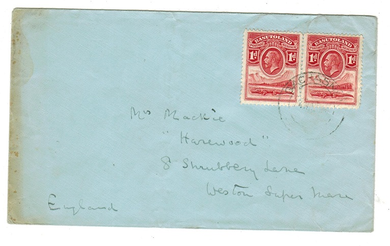 BASUTOLAND - 1936 2d rate cover to IK used at MOHALESHOEK.