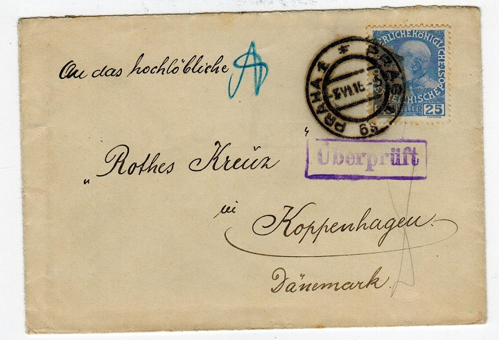 CZECHOSLOVAKIA - 1916 WWI cover to Denmark with Austrian adhesive used at PRAGUE.