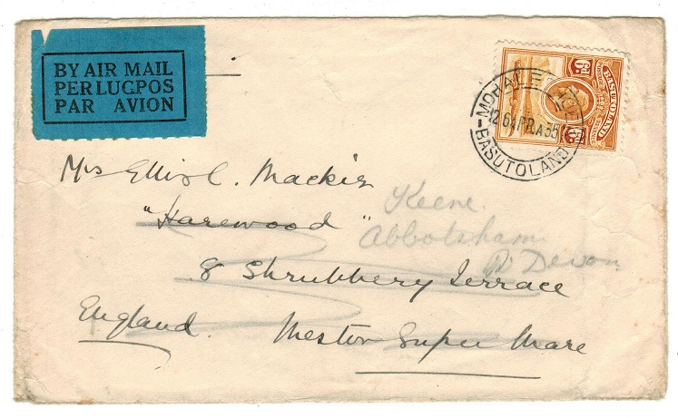 BASUTOLAND - 1935 6d rate cover to UK used at MOHALESHOEK.