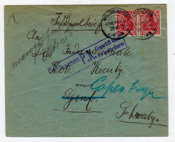 GERMANY - 1915 cover to Denmark.