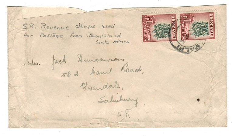 SOUTHERN RHODESIA - 1955 inward cover bearing 1d REVENUE pair.