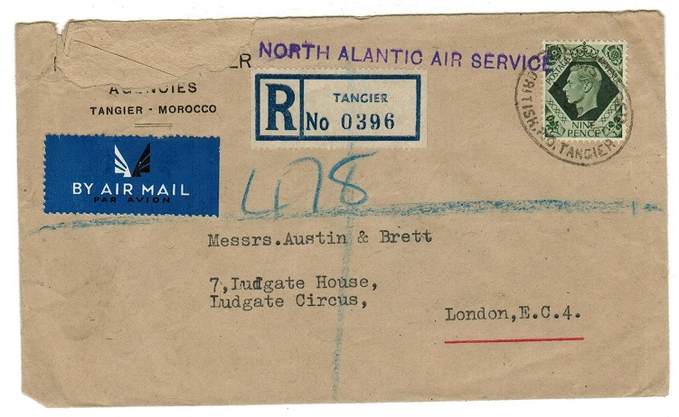 MOROCCO AGENCIES - 1946 mispelt ALANTIC h/s cover registered to UK with GB 9d tied TANGIER.