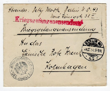 GERMANY - stampless cover to Denmark