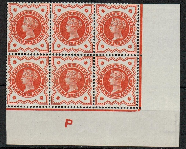 GREAT BRITAIN - 1887 1/2d vermilion U/M block of six with
