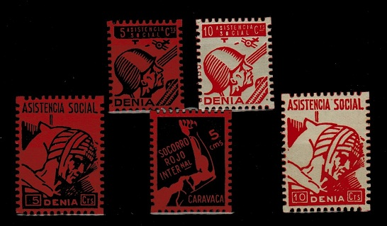 SPAIN - range of 1939 5ct and 10c ASISTENCIA social labels unused.  (5 items).