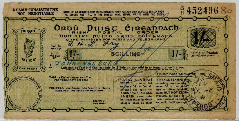 IRELAND - 1947 1/- IRISH POSTAL ORDER issued at SRAID TALBOID CEIATH.