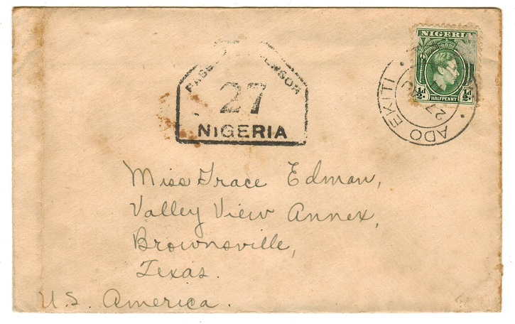 NIGERIA - 1941 PASSED BY CENSOR 27 cover to USA used at ADO EKITI.