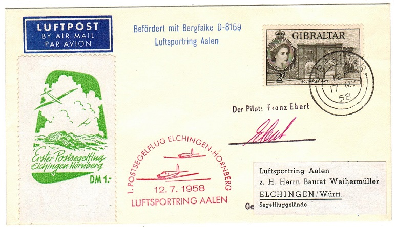 GIBRALTAR - 1958 first flight cover to Germany.