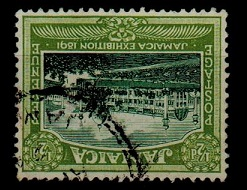 JAMAICA - 1922 1/2d green and olive green fine used with INVERTED WATERMARK.  SG 94w.