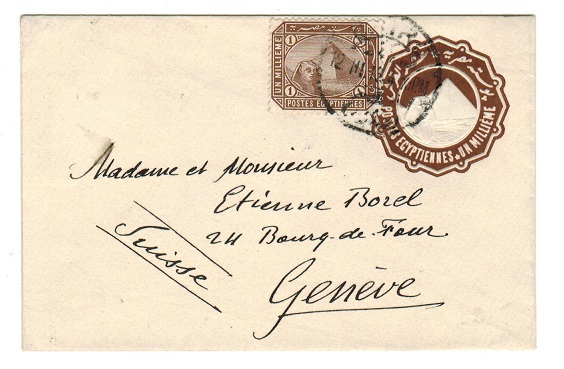 EGYPT - 1889 1m brown PSE uprated to Switzerland.  H&G 4.