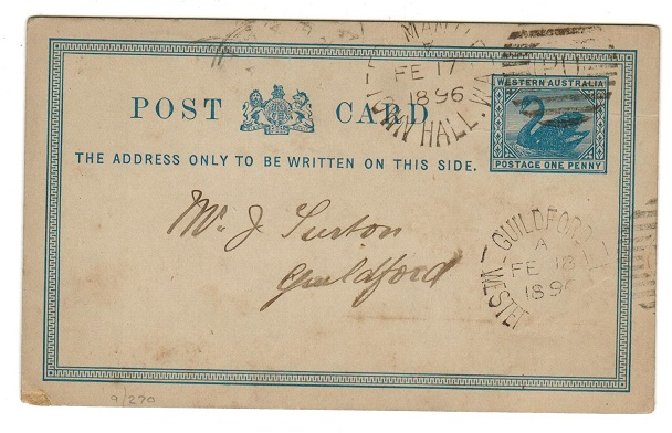 AUSTRALIA (Western Australia) - 1879 1d blue PSC with GUILDFORD arrival cds.  H&G 2.