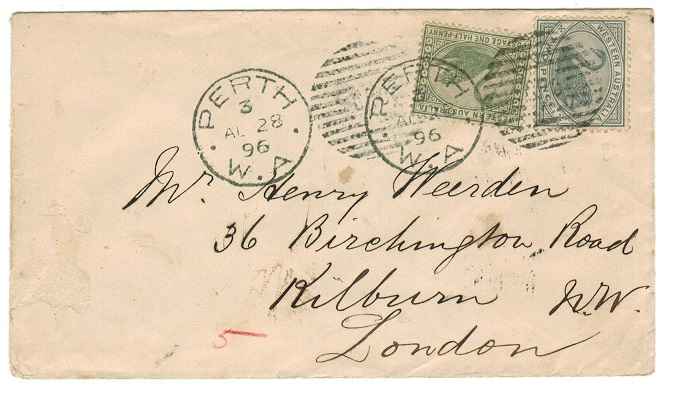 AUSTRALIA (Western Australia) - 1896 2 1/2d rate cover to UK used at PERTH.