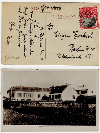 ST.HELENA - 1914 1d rate postcard to Germany.