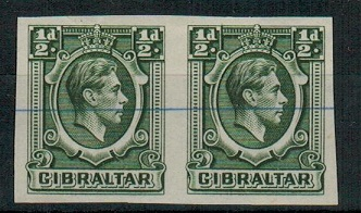 GIBRALTAR - 1938 1/2d IMPERFORATE PLATE PROOF pair with security lines.